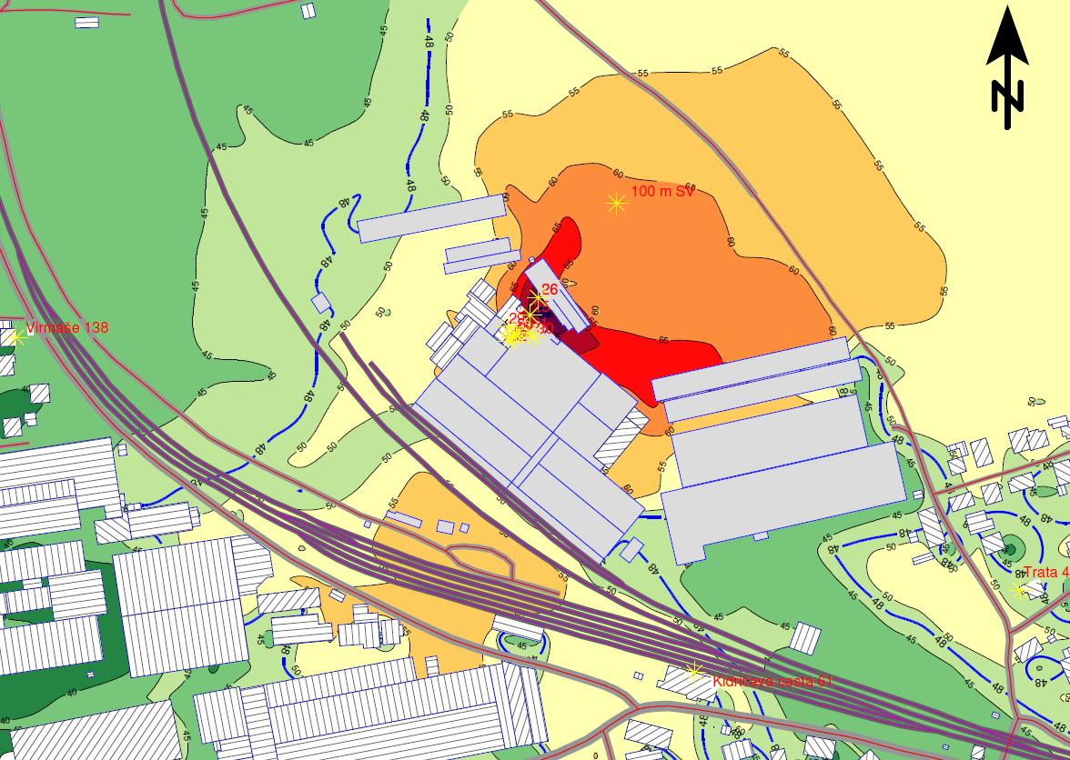Študija hrupa Knauf Insulation karta hrupa razširjen